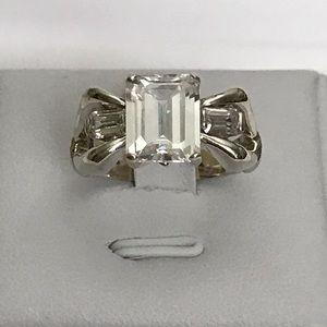 925 Emerald Diamond Bow Ring